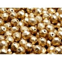 25 pcs Czech Fire Polished Faceted Glass Beads Round 8mm Bronze Pale Gold Matte