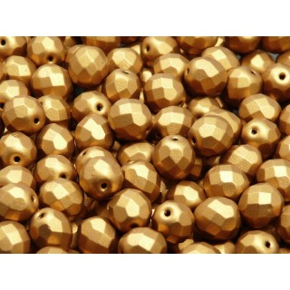 25 pcs Czech Fire Polished Faceted Glass Beads Round 8mm Bronze Gold Matte