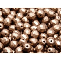 25 pcs Czech Fire Polished Faceted Glass Beads Round 8mm Bronze Copper Matte
