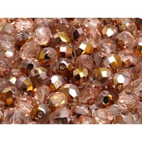 25 pcs Czech Fire Polished Faceted Glass Beads Round 8mm Crystal Gold Capri
