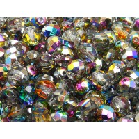 25 pcs Czech Fire Polished Faceted Glass Beads Round 8mm Crystal Vitrail
