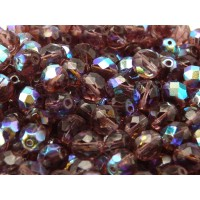25 pcs Czech Fire Polished Faceted Glass Beads Round 8mm Amethyst AB