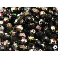 25 pcs Czech Fire Polished Faceted Glass Beads Round 8mm Jet Vitrail