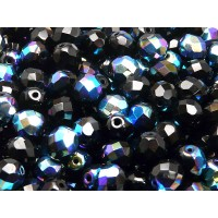 25 pcs Czech Fire Polished Faceted Glass Beads Round 8mm Jet AB