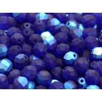 25 pcs Czech Fire Polished Faceted Glass Beads Round 8mm Cobalt Blue AB Matte