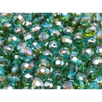 25 pcs Czech Fire Polished Faceted Glass Beads Round 8mm Aquamarine Celsian