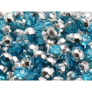 25 pcs Czech Fire Polished Faceted Glass Beads Round 8mm Aquamarine Labrador