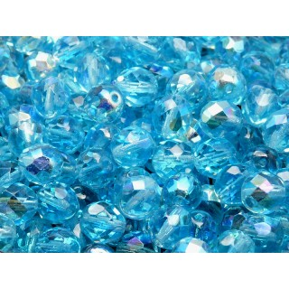 25 pcs Czech Fire Polished Faceted Glass Beads Round 8mm Aquamarine AB