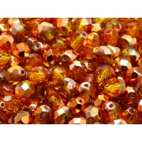 25 pcs Czech Fire Polished Faceted Glass Beads Round 8mm Amber Sun Set