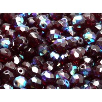 25 pcs Czech Fire Polished Faceted Glass Beads Round 8mm Garnet AB