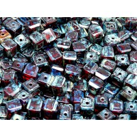 10 pcs Czech Fire Polished Faceted Glass Beads Cube 6mm Ruby Travertine