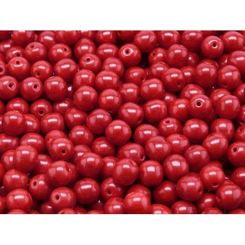 50 Red Opaque Glass Beads 6mm