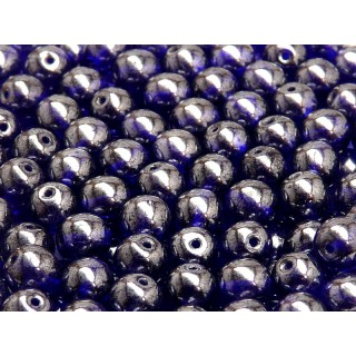 25 pcs Czech Pressed Glass Beads Round 8mm Cobalt Blue White Luster