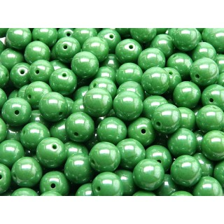 25 pcs Czech Pressed Glass Beads Round 8mm Opaque Green White Luster