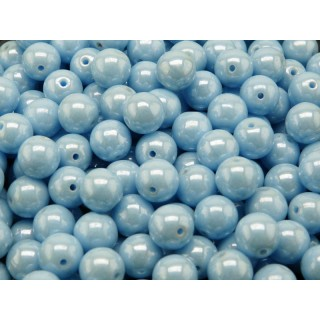 25 pcs Czech Pressed Glass Beads Round 8mm Opaque Turquoise Blue White Luster