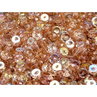 50 pcs Czech Fire Polished Faceted Glass Beads Rondelle Disc 6x3mm Rosaline AB
