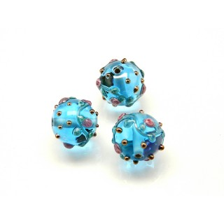 1 pc Czech Glass Lampwork Bead Round 8mm Aquamarine with Roses