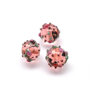 1 pc Czech Glass Lampwork Bead Round 12mm Rosaline with Roses