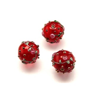 1 pc Czech Glass Lampwork Bead Round 12mm Ruby with Roses
