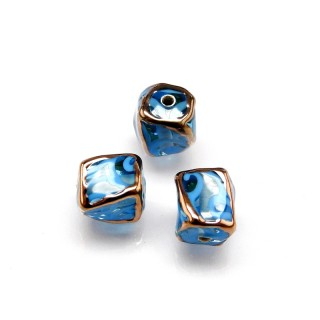 1 pc Czech Glass Lampwork Bead Twisted Cube 10mm Aquamarine with Blue Ornament