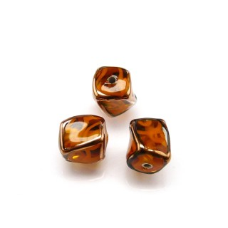 1 pc Czech Glass Lampwork Bead Twisted Cube 10mm Topaz with Orange Ornament