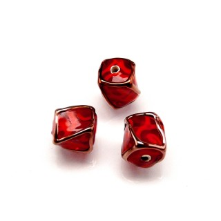 1 pc Czech Glass Lampwork Bead Twisted Cube 10mm Ruby with Red Ornament